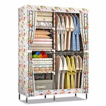modern stylish open door portable folding printing fabric wood bedroom cloth storage wardrobe trunk