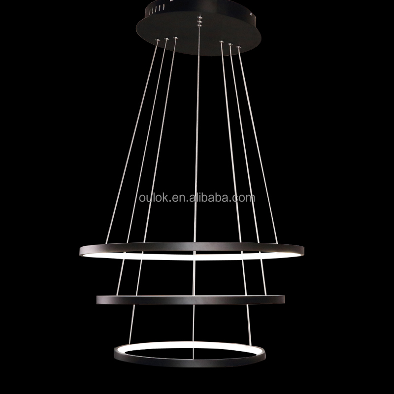 modern led 3 rings pendant lamp indoor acrylic hanging light chandelier lighting fixture