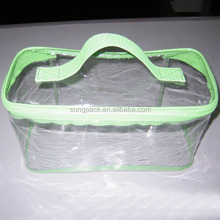 Stand Up See Through Resealable Plastic Bags With Handle Casual Transparent PVC Toiletry Bags For Women Zipper Cosmetic Bags