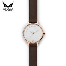 Calf leather strap beautiful ladies watch index crystal waterproof quartz stainless steel back bulk watches custom logo