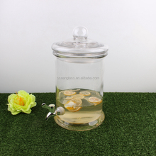 Glass juice dispenser beverage drinking jar water canister with tap
