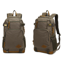 Mens Large Vintage Canvas Backpack School Laptop Bag Hiking Travel Rucksack