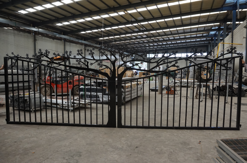 steel gate with tree