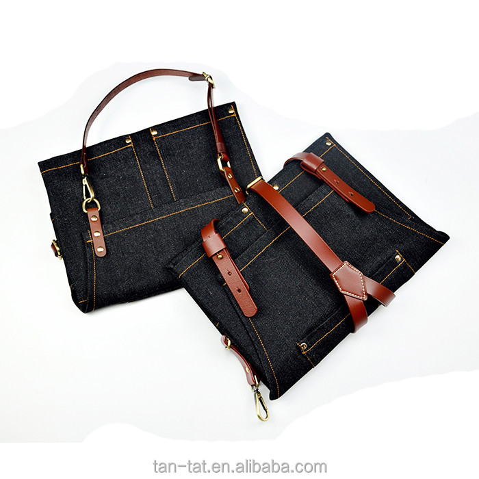 Heavy Denim Canvas Aprons with Leather Strap