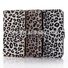 Grey Leopard Prints PU Leather Wallet Cover Case for Samsung Galaxy S5 i9600