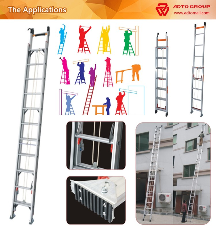 Finger Save Stoppers 3.8m Aluminium Telescopic Extention ladder loft Extending Ladder