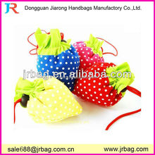 Drawstring polyester hanging foldable strawberry shopping bags