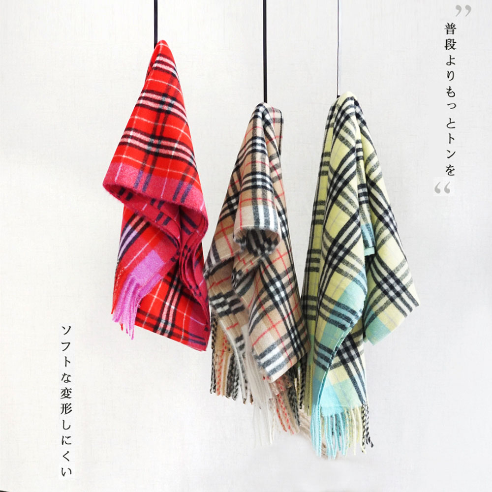 2019 new imitate cashmere bright color classic plaid autumn and winter fluffy <strong>scarf</strong> wholesale