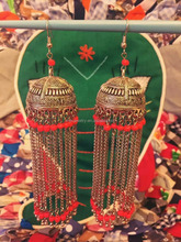 Long Tassel Nepal Ethnic Traditional Indian Jhumka Hook Dangle Earring With Red Coral Crystal Droplets Bollywood Jewelry