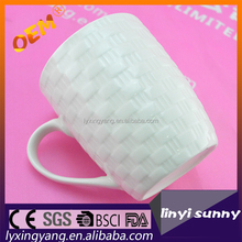 2017 hot selling white cooffee new bone china embossed mug with chaep price