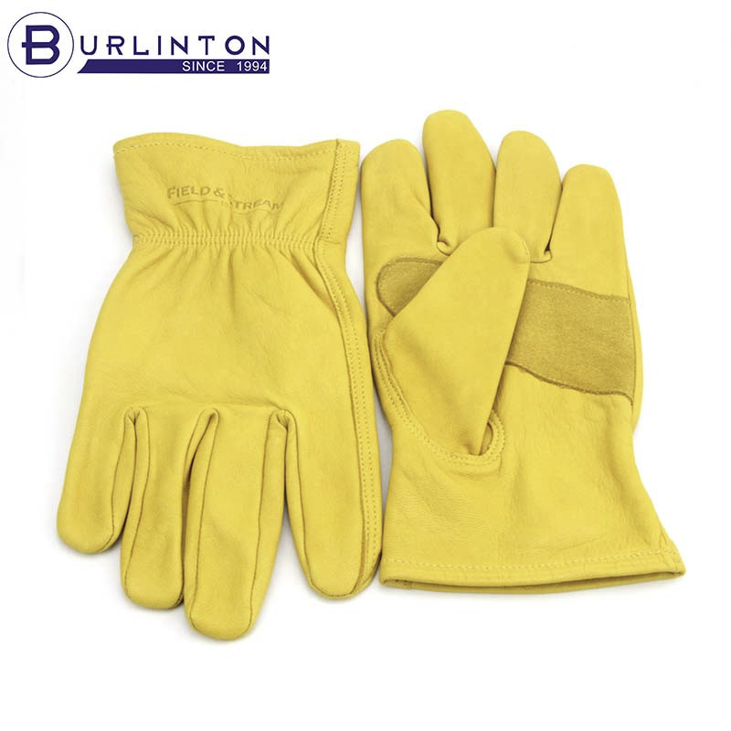 Double palm soft goat skin working garden leather gloves