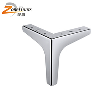 High Quality Hardware Part Triangle Furniture Sofa Accessories Replacement Sliver Triangle Iron Chrome Metal Y Shaped Sofa Legs