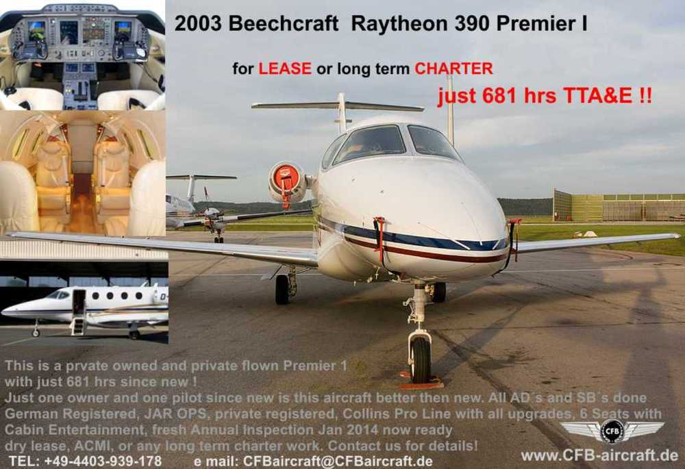 Beechcraft RB 390 Premier I for long term Charter or Lease