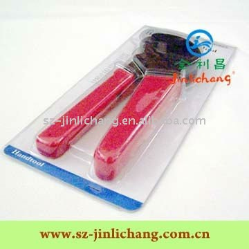 Slide and flanged blister packaging for metal clamp