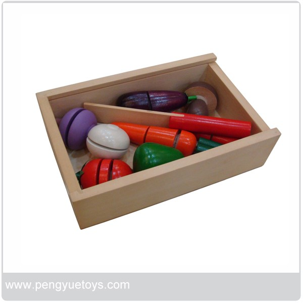 Non-toxic Colored Wooden Slice and see Pretend game toy Pretend Play Toy