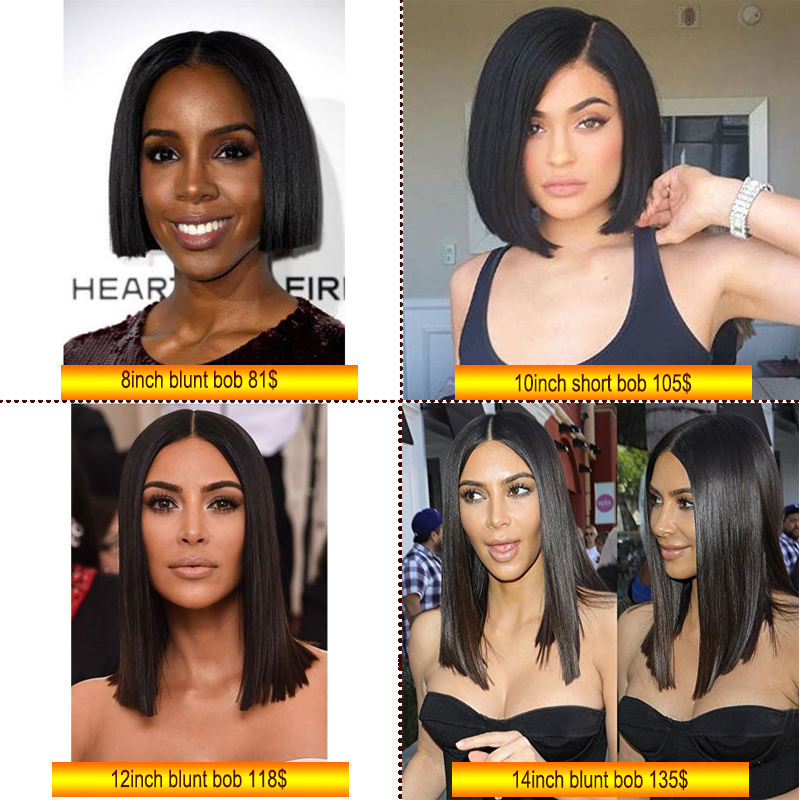 100% virgin brazilian human hair 180 density front lace wig 14inch natural color