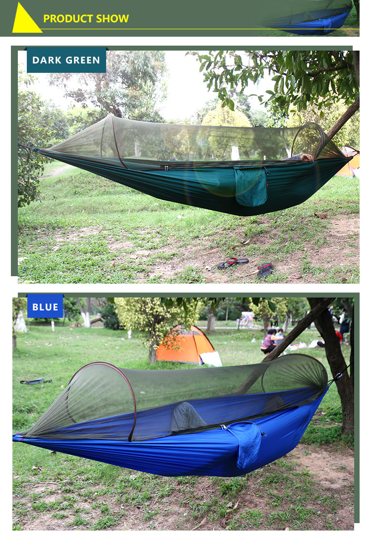 New design outdoor camping hammock parachute hammock bug net for hot sale