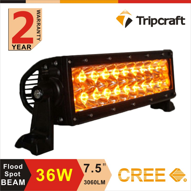 Popular 36w amber led driving light bar , 7.5 inch dual row off road 4x4 4WD outdoor drive lights