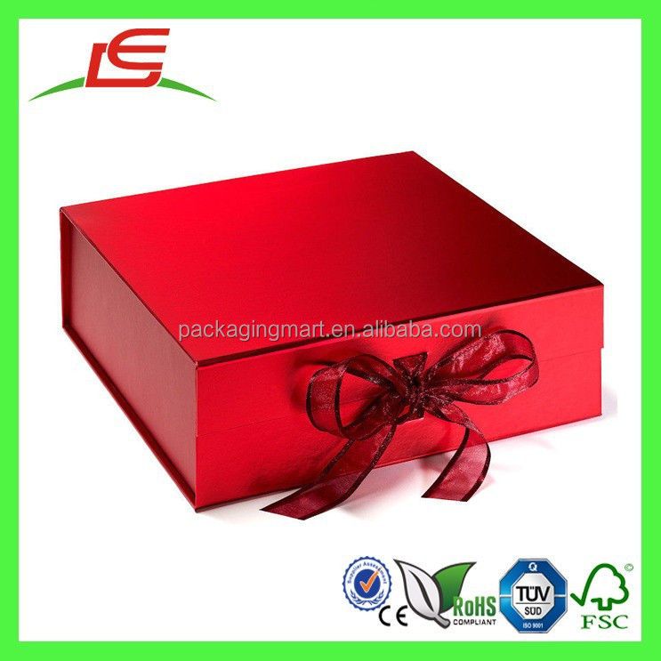 Q1292 Luxury Plain Gift Keepsake Colored Large Magnetic Lid Storage Box With Ribbons Wholesale In China