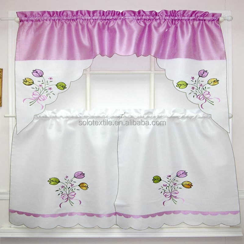Polyester Fabric Kitchen Curtain with embroidery,3pcs, Rod pocket top curtain