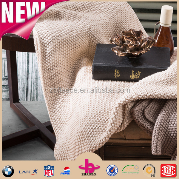 alibaba hot sale elegant plain style multifunction 100 cotton/wash acrylic Mink thick throw cable knit blanket