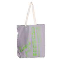 customized printed organic cotton canvas tote bag with braided strip handles