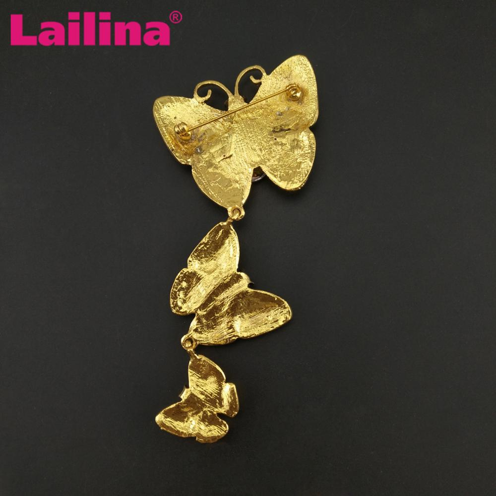 Vintage Gold Tone Retro Three Butterfly Brooch