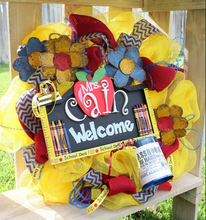 Bright Color Poly Deco Mesh Teacher Wreaths for Back To School Classroom Decoration