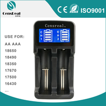 CE RoHS FCC approved Ni-MH Li-ion universal intelligent double charger with LCD display