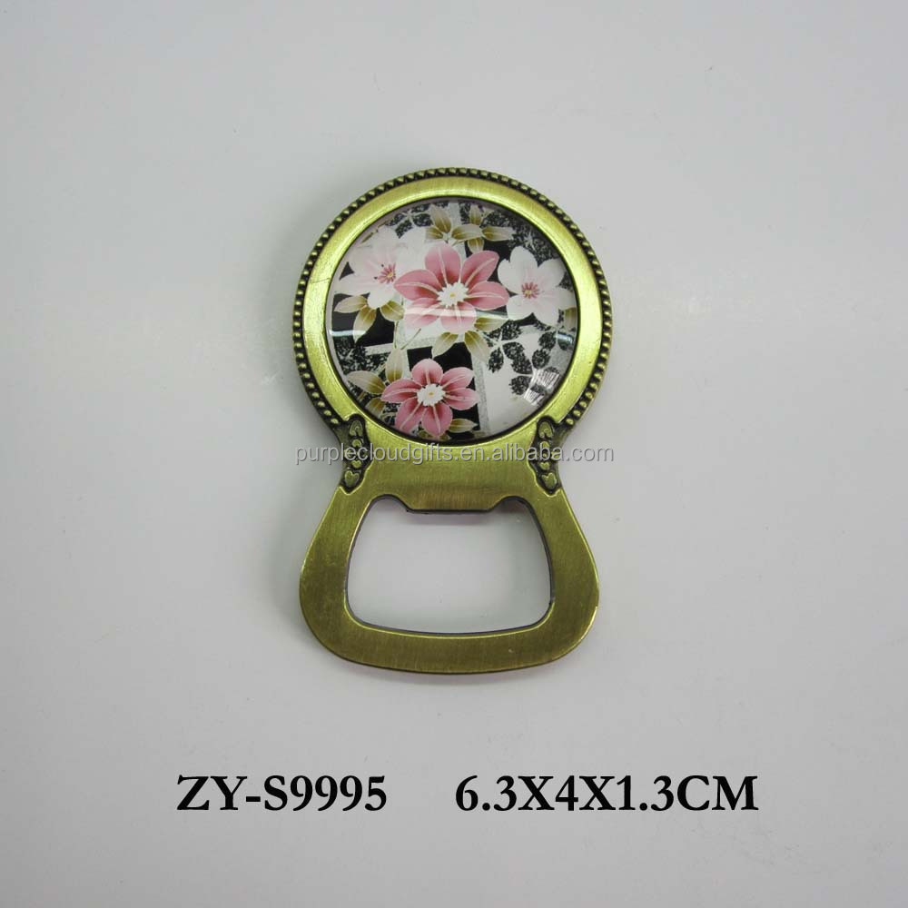 Flower printing fridge magnet bottle opener , fancy bottle opener