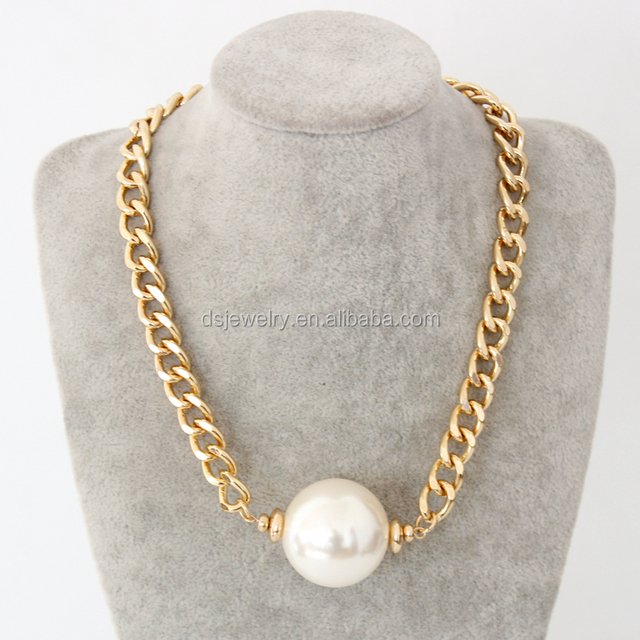 pearl beads necklace with gold chain