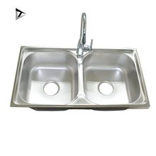 7843 201 material cheap double bowl stainless steel kitchen sink