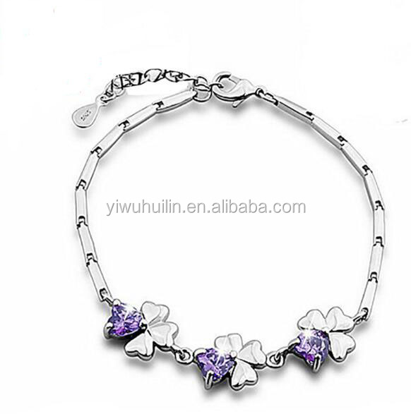 YFY5016 Yiwu Huilin Jewelry Top Crystal Leafs Shape lucky Silver Bracelet For Wedding Gift