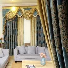 Blue European luxury chenille jacquard cloth hall design curtains