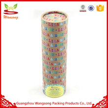 Pink Gift Paper Cardboard Tube Box With Red Green Ribbon