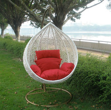Foshan outdoor manufacturer iron swing designs white color rattan patio hanging chair furniture