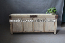 Chinese antique white washed reclaimed wood natural vanity cabinet
