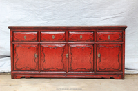 TV cabinet with 4 drawers 4 doors red antique cabinet