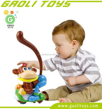 Battery operated cartoon happy monkey ride on bike toys with fun games