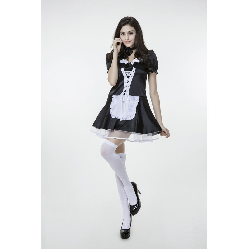 New M-XXL Plus Size Maid Cosplay Costume Outfit Sexy Disfraces Halloween Costumes For Women Adult French Mail Dress Vestido PS19