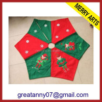 Geometric figure shape fabric knit 2015 new product handmade felt christmas tree skirt for christmas tree decoration