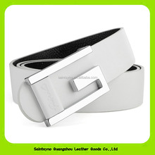 16266 Hot sale Chastity Unisex White Cowhide Skin Leather Belt With Hole