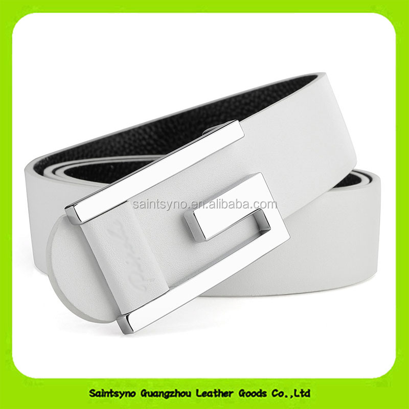 Hot sale Chastity Unisex White Cowhide Skin Leather Belt With Hole 16266