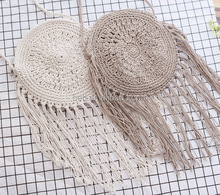 handmade cotton rope dreamcatcher straw bohemian tassel shoulder bag round crochet fringed beach bags
