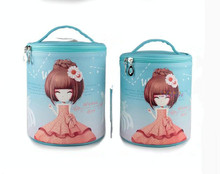 2016 Cute cartoon PU cosmetic bag, Round cosmetic bag, Lovely cosmetic case