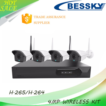 Bessky Factory price 4ch security recordable 4mp p2p ip camera wireless wifi nvr kit 4 channel 4mp ahd cctv system night vision