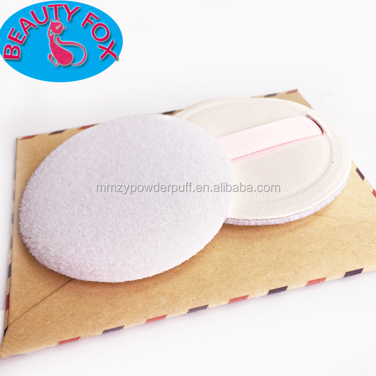 Professional Dual-used Wet and Dry PU Flocking Puff with Pink Belt OEM Logo Powder Puff