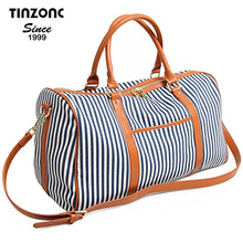 Weekender Travel ladies set protege sport duffel pu women shoulder bag with Strips and PU Leather
