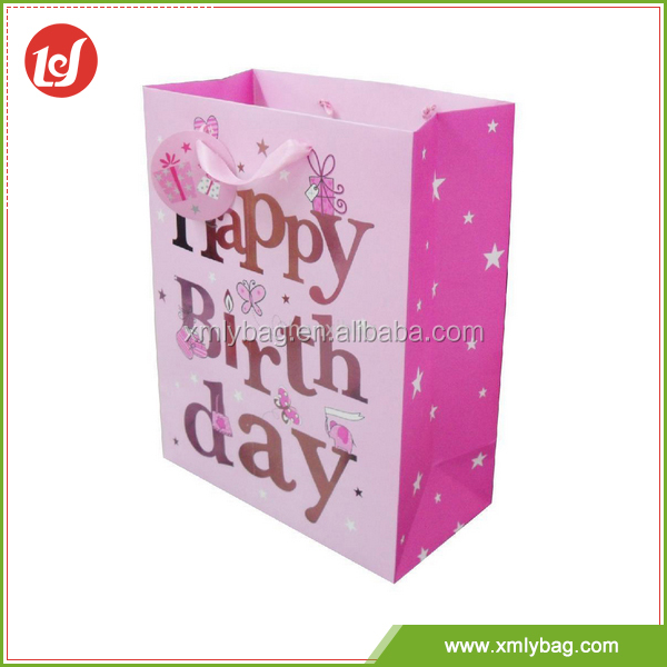 Most fashion customized pink birthday gift art wholesale paper bag