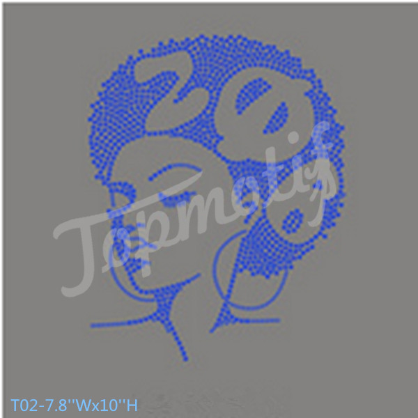 hot fix rhinestone transfer motif afro girl with zeta phi beta letters on sticker press